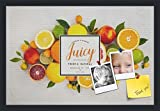 PinPix decorative pin cork bulletin board made from canvas, Recipe Board with Fruit 24x16 Inches (Completed Size) and framed in Satin Black (PinPix-Group-36)