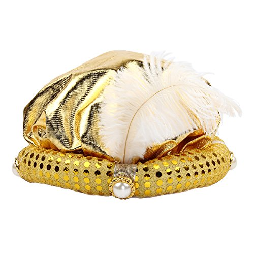 Mochiglory Gold Gypsy Fortune Teller Arabian Hat Feather Plume Hats Costume Set Party Decor -