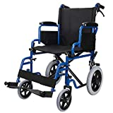 LivingBasics™ Light Weight Transport Wheelchair with Hand Brakes, Foldable With Big Wheels Support