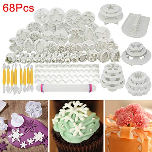 TECHSON 68 PCS Fondant Cutter Tool Set, Homemade Cake Icing Decorating Supplies, (Flower Patterns Mold, Smoother, Embosser, Rolling Pin, Sugar Craft)