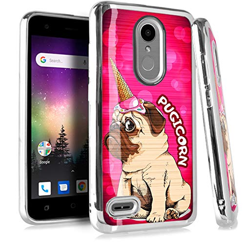 Compatible LG Aristo 3 | Tribute Empire | K9s (2019) | Fortune 3 | Risio 4 Case Electroplated Chrome TPU Brushed Textured Hybrid Holiday Phone Cover (Pug Unicorn Pink)