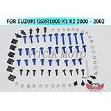 VITCIK Full Fairings Bolt Screw Kits for Suzuki GSX-R1000 K1 K2 2000 2001 2002 GSXR1000 K1 K2 00 01 02 Motorcycle Fastener CNC Aluminium Clips (Blue & Silver)