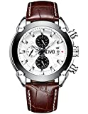 CIVO Mens Chronograph Watches Multifunctional Waterproof Date Calendar Luxury Business Casual Dress Analogue Quartz Wrist Watch for Men with Brown Genuine Leather Band White Dial