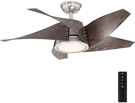 Home Decorators Collection Broughton 42 In Led Brushed Nickel Ceiling Fan With Remote Control Amazon Com
