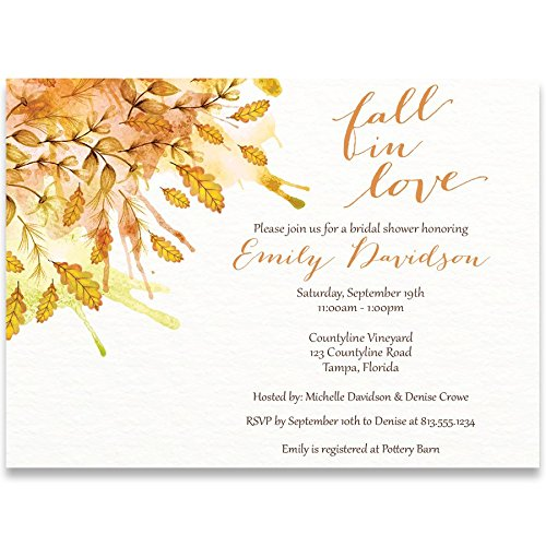 Leaves Wedding Invitation Fall (Bridal Shower Invitations, Autumn Days, White, Orange, Burnt Orange, Yellow, Watercolor, Leaves, Fall Wedding, Autumn Wedding Shower, Bride To Be, Set of 10 Custom Printed Invites with Envelopes)