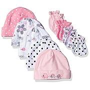 Gerber Baby Girls' 9 Piece Cap (0-6M) and Mitten (0-3M) Bundle, Elephants/Flowers, Newborn