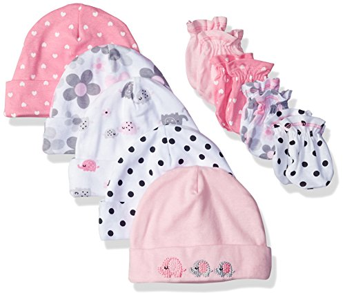 Set Mitten 3 Piece (Gerber Baby Girls' 9-Piece Cap and Mitten Bundle, Elephants/Flowers, Newborn)