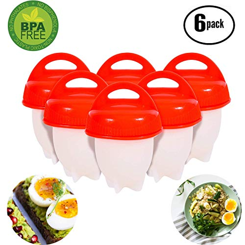 No.1 Hard Boiled Silicone Egg Cooker Without The Shell, Non Stick Egg Boil Poacher, As Seen On TV, (6pc), Red (Silicone Egg Cooker)