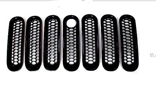 センター グリル 虫の進出防止 ブラック 真ん中穴あり ABS 7枚 カバー リム「ジープラングラー JK(Jeep Wrangler) 2007‐2015年」に適合 【HIGH FLYING 】 B078TDBVGGブラック 穴あり