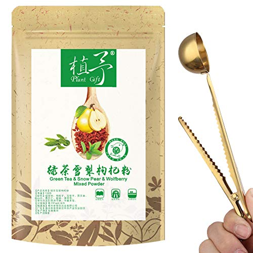 100% Pure Natural Plant green tea & Snow pear & wolfberry Mixed powder,Face Film Materials, Moisturizing Antioxidant 100g
