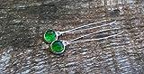 Recycled Vintage Green Beer Bottle Long Drop Charm Earrings