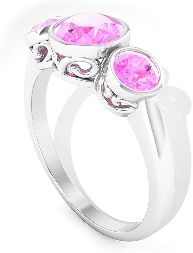 Anillo de boda con certificado IDCL de 1,3 quilates de Moissanite Cluster, DEF-VS1 de claridad de color, anillo de novia de tres piedras, anillo de promesa para mujer 14K Oro blanco