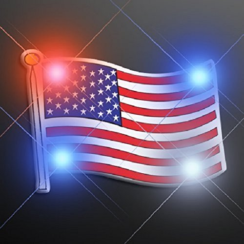 USA American Flag LED Bright Light Up Flashing Pins Assortment (Set of 50)