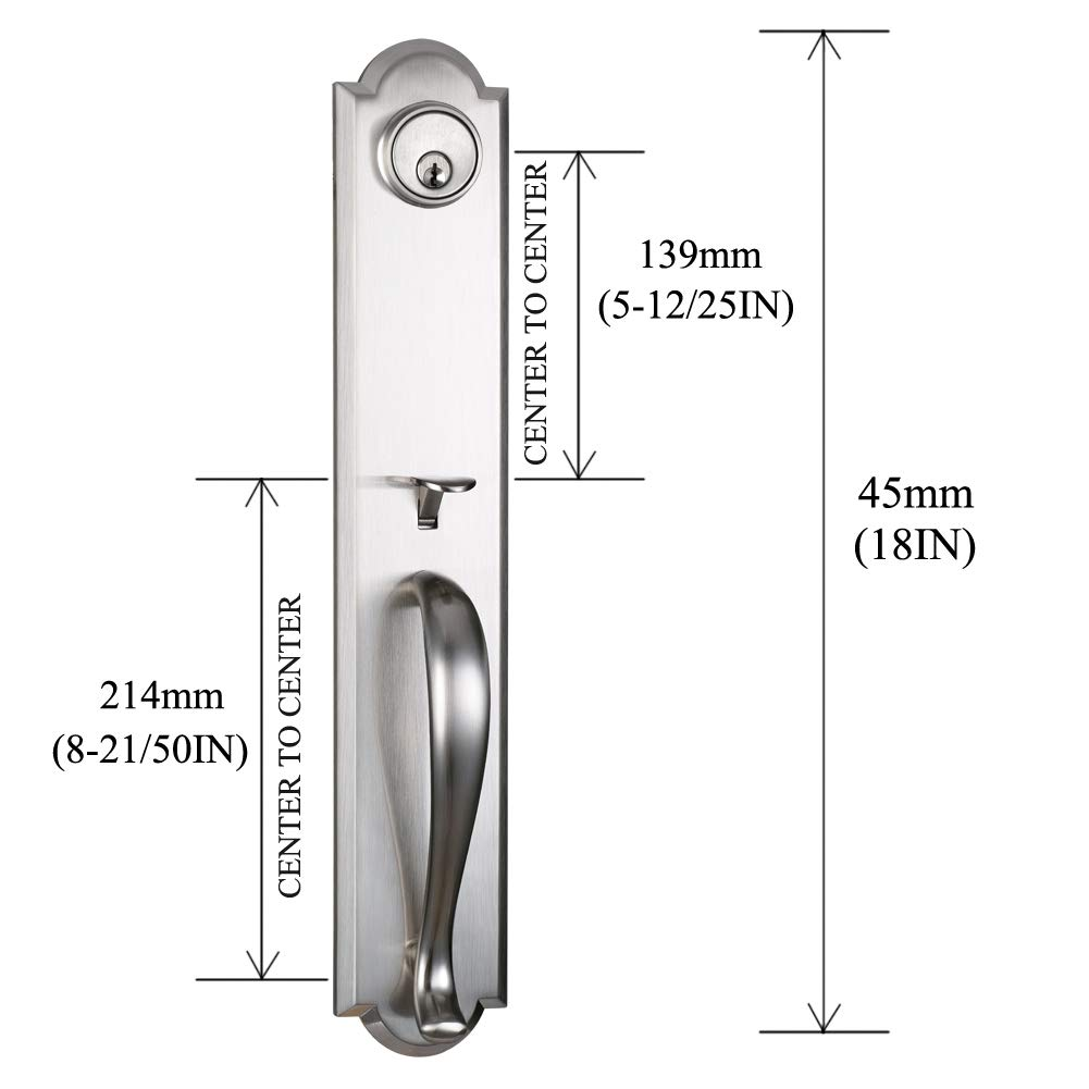 Front Door Entry Handleset Satin Nickel,Slilver Handleset with Deadbolt,MDHST2017SN-AMZ-2
