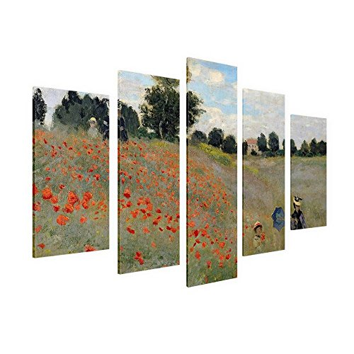 Alonline Art - Wild Poppies Near Argenteuil Claude Monet Framed Stretched Canvas (100% Cotton) Gallery Wrapped - Ready to Hang | 30