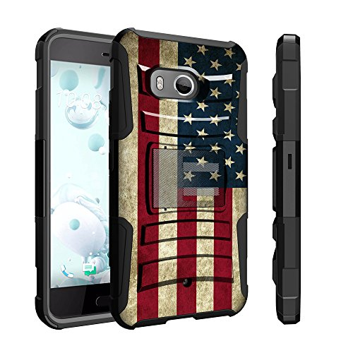 Untouchble Case for HTC U11 Case, HTC Ocean Flag Holster Case, HTC U 11 Case [Heavy Duty Clip]- Shockproof Swivel Holster Case with Built in Kickstand - Vintage America Flag (Htc U11 Best Price)