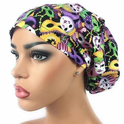 Er Surgeon Costumes (DK Scrub Hats Women's Adjustable Bouffant Surgical Ponytail Cap Mardi Gras Masks)