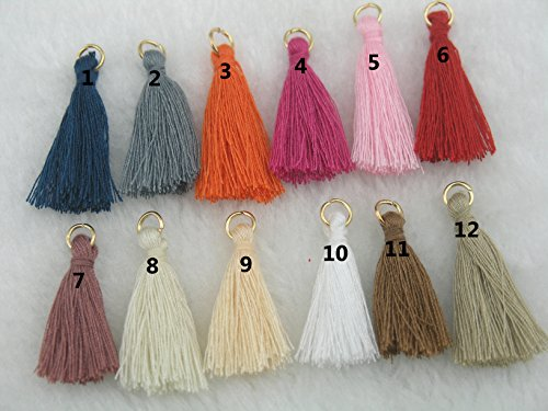 50pcs 32 Colors Silky Handmade Tiny(1.4'') Soft Tassels, Mini Tassels, Colorful Tassels, Earring Tassels with Golden Jump (Handmade Tassels)