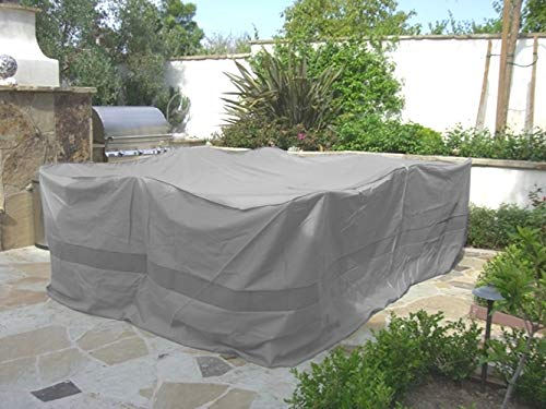 Formosa Covers Premium Tight Weave Fabric Patio Set Square Cover 116''x116'' Fits Patio Round/Square Table, Center Hole for Umbrella in Grey by Formosa Covers (Image #4)'