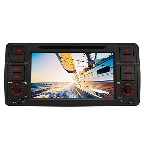 PUMPKIN Android 5.1 Autoradio Moniceiver DVD Receiver für BMW 3er E46 318 320 325 330 335 M3 1998-2006 Unterstützt GPS Navi DAB+ Bluetooth WLAN 3G Lenkradsteurung 1 Din mit 7 Zoll Touchscreen