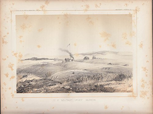 USPRR Survey 1853-4 lithograph U S Military Post at Benicia - Military Lithograph