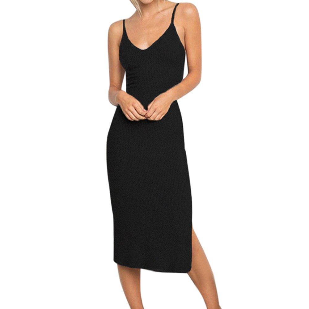 Dress for Women Sexy Ladies Summer Solid Sleeveless V Neck Strappy Tank Dress Slim Rib Knit Split Party Casaul Midi Dress Black