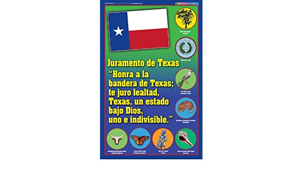 graphic regarding Pledge of Allegiance in Spanish Printable named Texas Pledge Poster - Spanish Variation (Texas Practical experience