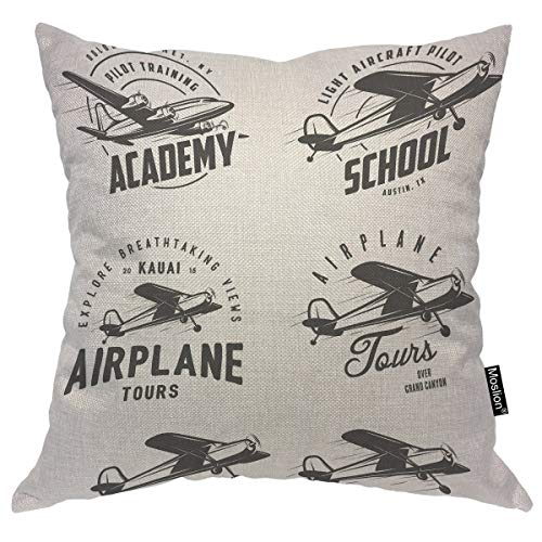 Moslion Throw Pillow Cover Airplane 24x24 Inch Plane Aircraft Flight Logo Emblems Labels Design Travel Fly Engine Pillow Case Cushion Cover for Home Car Decorative Cotton Linen ()