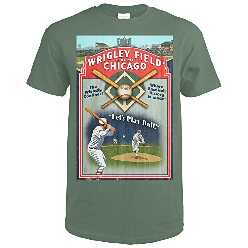 Chicago, Illinois - Wrigley Field Vintage Sign (Military Green T-Shirt XX-Large) (Wrigley Field Green)