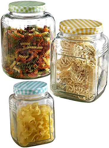 Circleware 67072 Sundance Glass Canister Mason Jar Food, Coffee, Sugar and Tea Dispenser Set with Metal Lids, 152oz, 96oz. and 48oz, Yellow, Blue and Green Checkered Lids, Set of 3