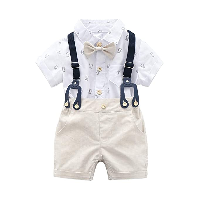 4d042a4ed7fba Baby Boys Gentleman Outfits Suits, Infant Short Sleeve Shirt+Bib Pants+Bow  Tie Overalls Clothes Set