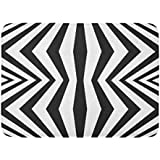 """Emvency Bath Mat Geometric Stripes Black and White with Vertical Refracted Lines Abstract Monochrome Striped Tiles Optical Bathroom Decor Rug 16"""" x 24"""""""
