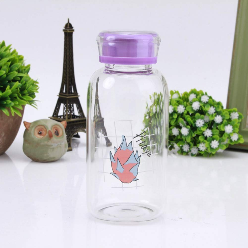 PanDaDa Creative Cute Fruit Print Portable Clear Glass Water Cup Leak-Proof Drinking Container Travel Mug 300ml,C