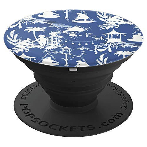 White on Blue Toile Chinoiserie Blue Willow Temple - PopSockets Grip and Stand for Phones and Tablets