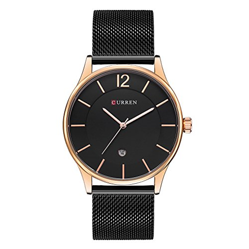 CURREN Men Analog-quartz Watch Ultra-thin Dail Calendar Stainless steel mesh band Wristwatch Valentine's Day Gift for him 8231 (silver-black) (Ultra Analog)
