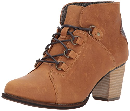 Waterproof Leather Heels (Caterpillar Women's Arbor Waterproof Lace up Bootie with Stacked Heel Ankle Boot, Tan / Tater, 7.5 Medium US)