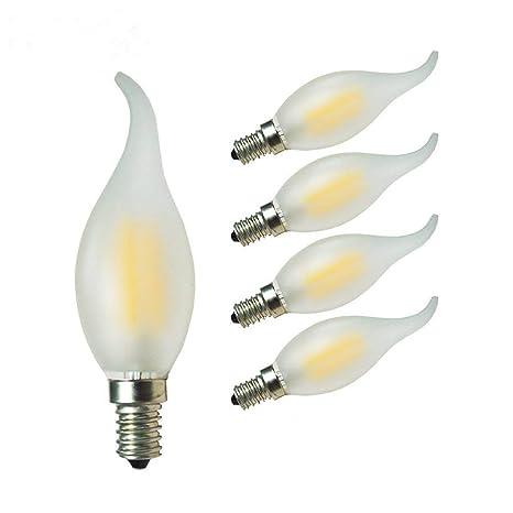 GLW 4W LED Bombilla de Filamento,3000K Lámpara de Candela Blanca Cálida,E14 40W
