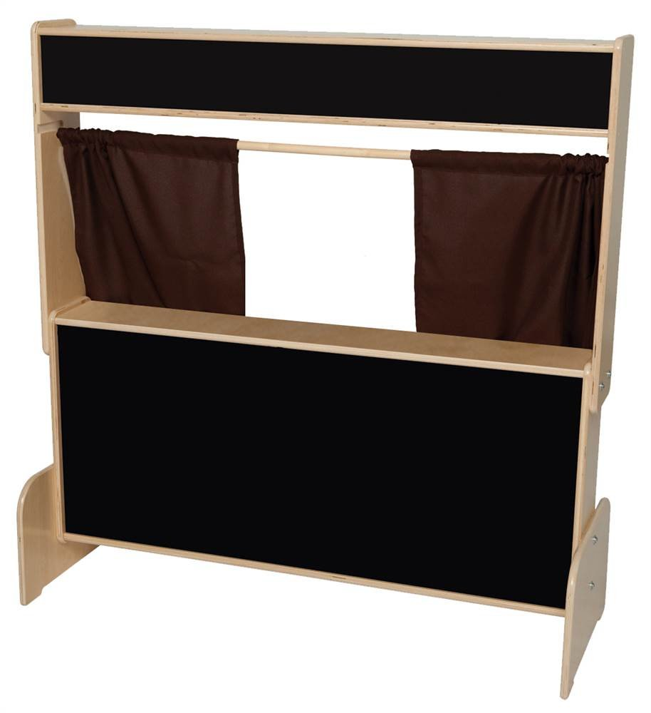 Deluxe Puppet Theater with Flannelboard and Brown Curtains