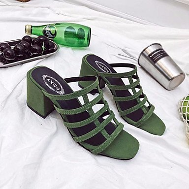 Goma Bloque Hebilla Tacones Paseo Confort Verano Verde Talón 2'5 Cms ggx Lvyuan Green De Mujer Beige Menos Negro wqv0xIqC