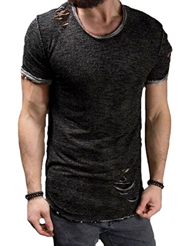 Men's Short Sleeve Crew Neck Slim Fit Fitness T-Shirt Tops With Ripped Holes (US-L, - S Men