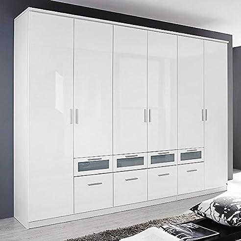 Kleiderschrank weiß hochglanz  Kleiderschrank Hochglanz weiß 6 Türen B 271 cm Schrank ...