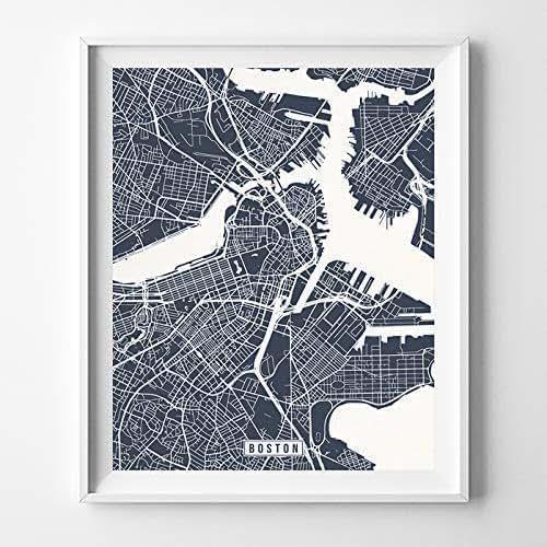 Home Decor Boston: Amazon.com: Boston Massachusetts Map Print Street Poster