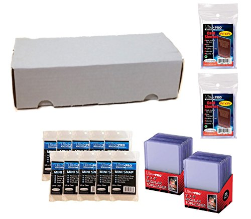 Ultra Pro Card Collector Supplies Starter Kit Large Bundle: Top Loaders, Sleeves, Mini Snap Holders & 550 Count Storage Box