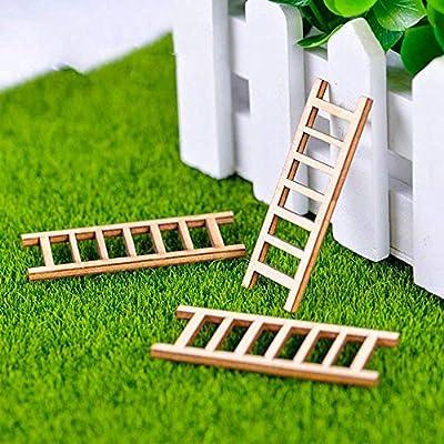 DAWEIF 3pcs Mini Wooden Step Ladder Furniture Tools Fairy Garden Miniatures Decor Action Figurine DIY Micro Gnome Terrarium Gift: Home & Kitchen