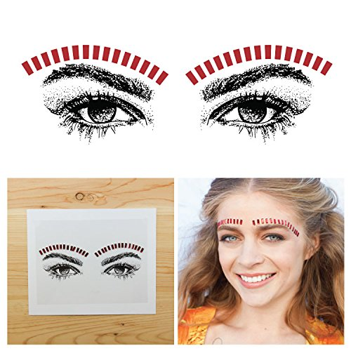 Tattify Bindi Festival Red Block Colorful Temporary Face Rocks - Rock - Other Styles Available, Fashionable Temporary Rhinestone Gem Face Jewel Stickers - Long Lasting and - Blog Style Festival