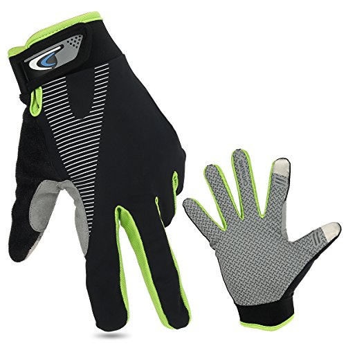 SiFree Full Finger Bike Gloves Wind Stopper Light Silicone Gel for Road Cycling, Mountain Biking, Racing, MTB & BMX Men and Women Mitt(Dark Green)
