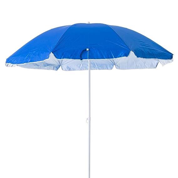 Monty LOLAhome Sombrilla de Playa Plegable Azul de Nylon de 220 cm Garden