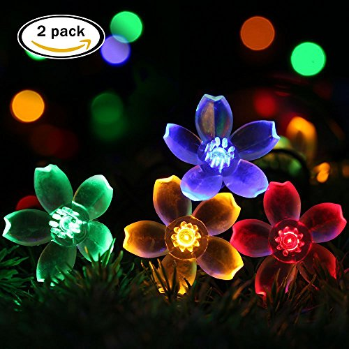 easyDecor 2 Pack Solar String Lights 50 LED 23ft 8 Modes Blossom Flower Garden Christmas lights for Outdoor Indoor Party Wedding Patio Holiday Decorations (Multi Color) (Lights Flower String Colorful)