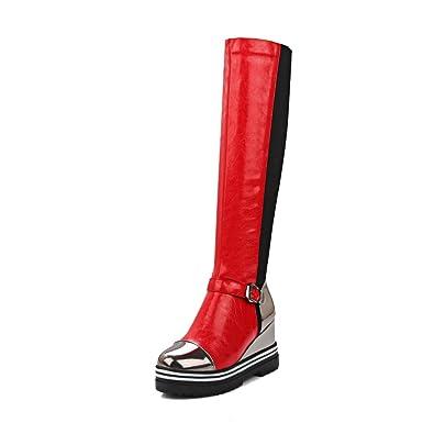 AllhqFashion Damen Mitte-Spitze Gemischte Farbe Ziehen auf Rund Zehe Hoher Absatz Stiefel, Schwarz, 36
