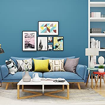 YUELA Einfache Farbe Plain Vliestapeten Blau Grau Gelb Grün   Schlafzimmer  Wohnzimmer Hintergrundbild, See Blau